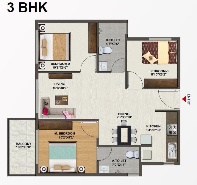 sowparnika indraprastha apartment 3bhk 978sqft 1
