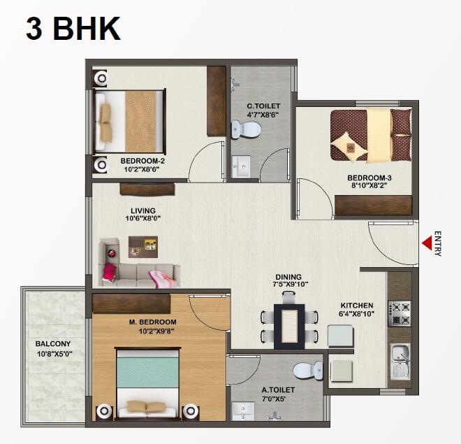 sowparnika indraprastha apartment 3bhk 995sqft 1