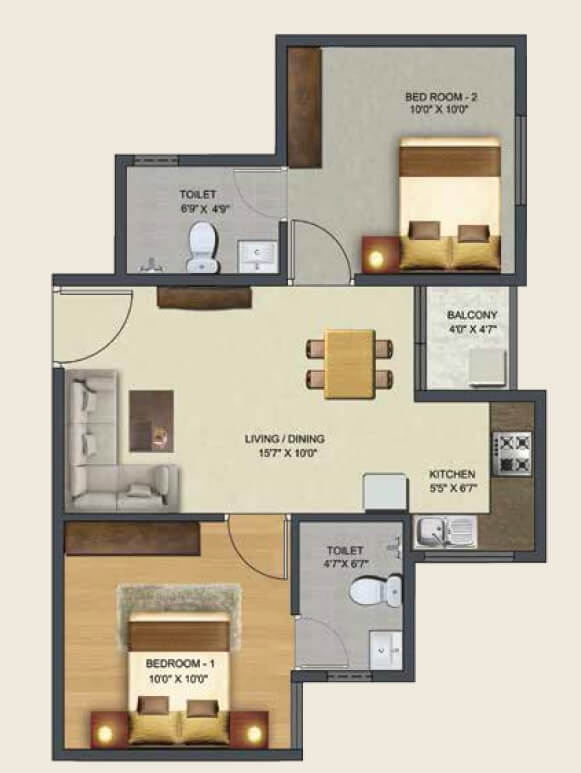 sowparnika pranathi apartment 2bhk 737sqft 1