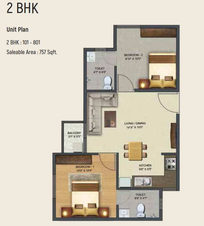 sowparnika pranathi apartment 2bhk 757sqft 1
