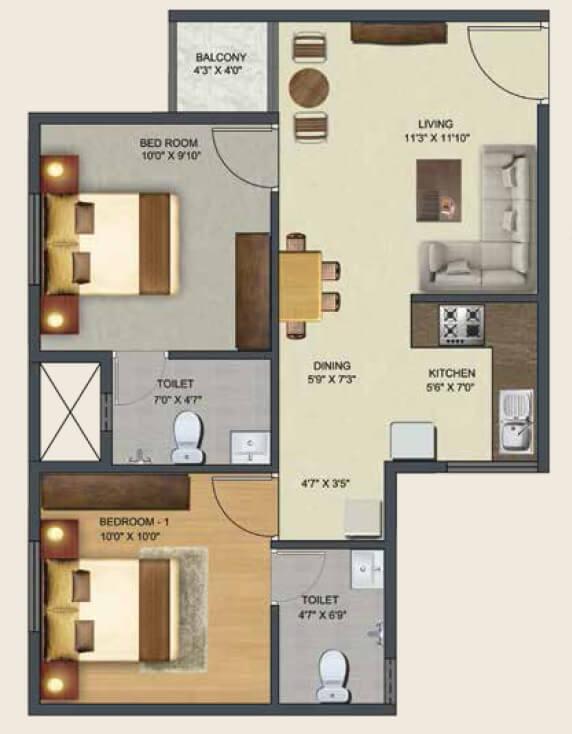 sowparnika pranathi apartment 2bhk 789sqft 1