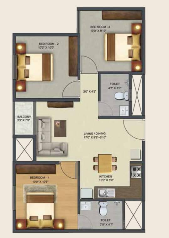 sowparnika pranathi apartment 3bhk 943sqft 1