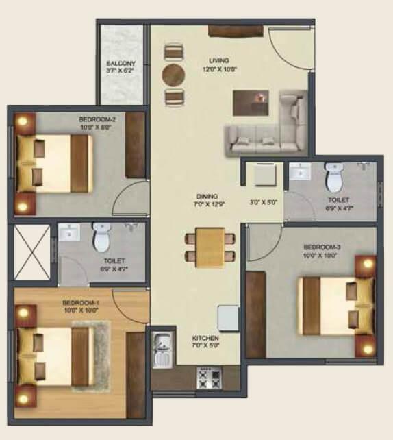 sowparnika pranathi apartment 3bhk 973sqft 1