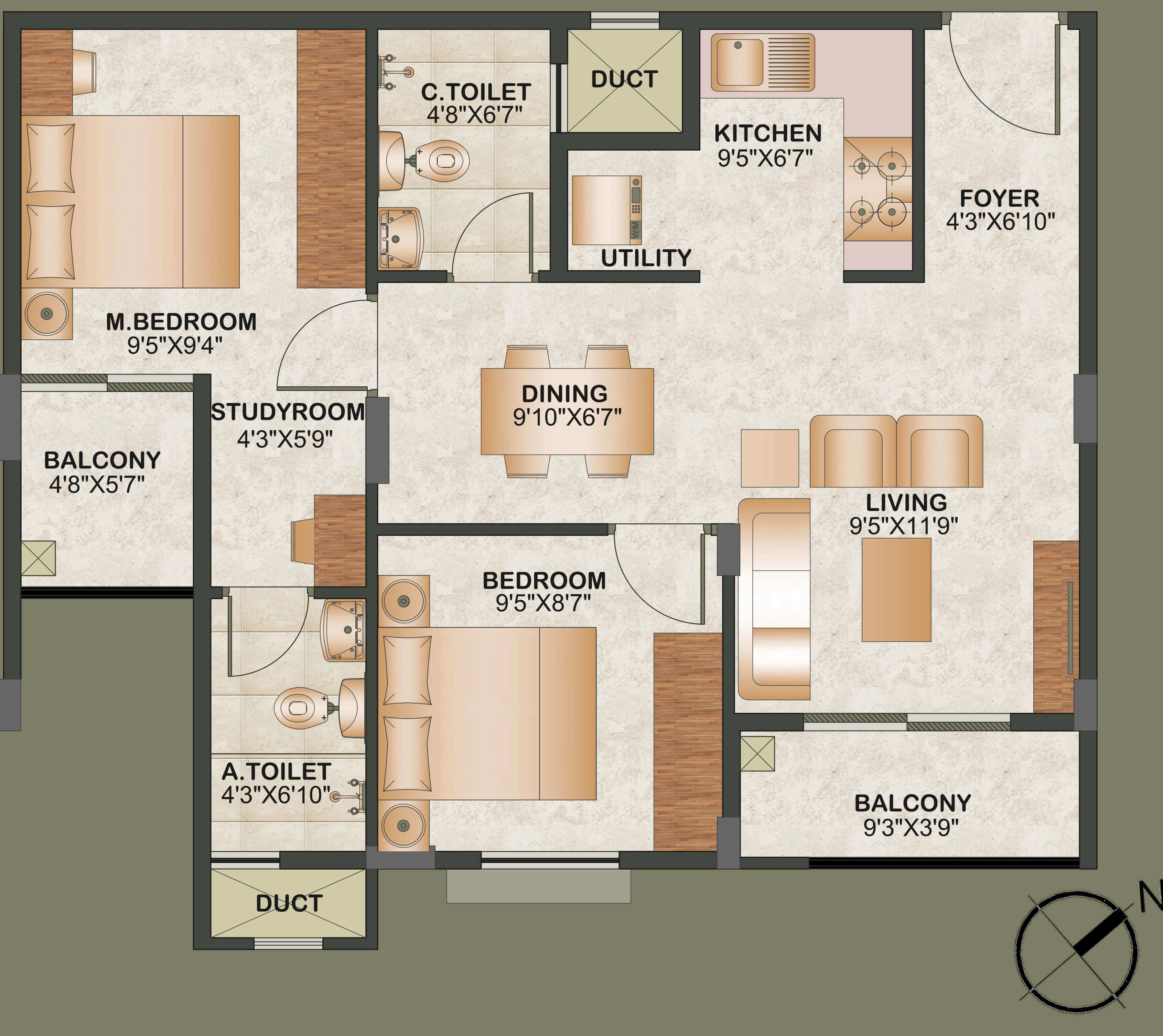 sowparnika tharangini apartment 2bhk st 949sqft 1