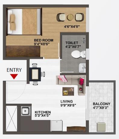 sowparnika unnathi apartment 1bhk 472sqft 1