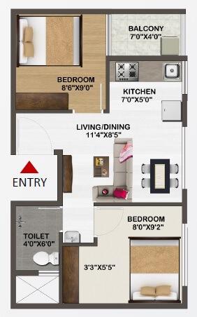 sowparnika unnathi apartment 2bhk 590sqft 1