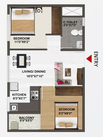 sowparnika unnathi apartment 2bhk 625sqft 1