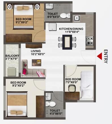 sowparnika unnathi apartment 3bhk 784sqft 1