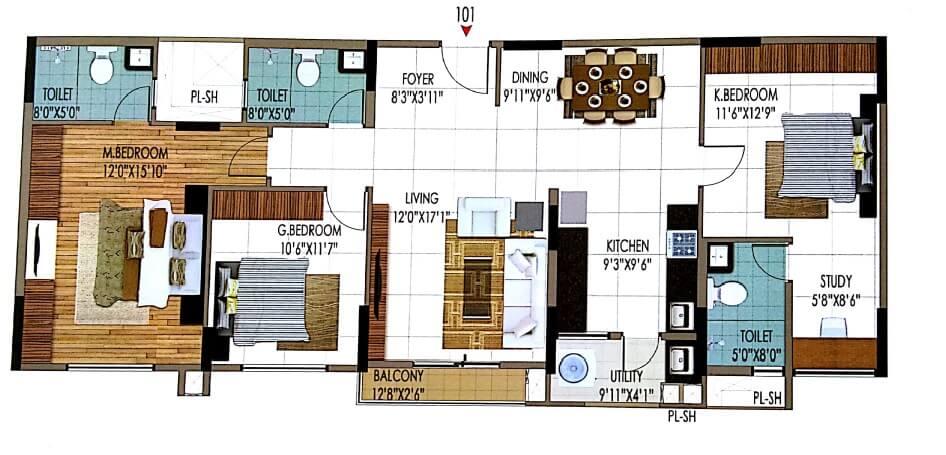 sumadhura nandanam apartment 3bhk 1696sqft 1