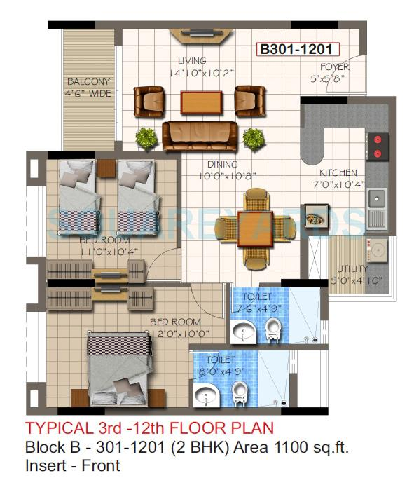 supertech micasa apartment 2bhk 1100sqft1