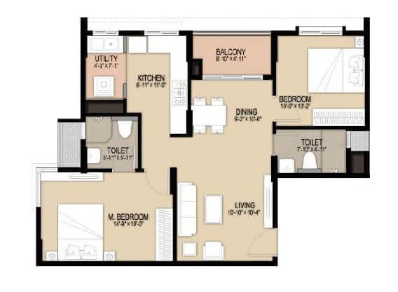 unicon north brooks 46 apartment 2bhk 1045sqft 1