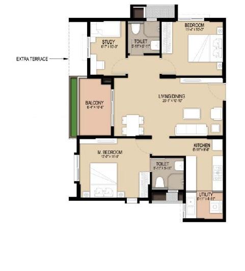 unicon north brooks 46 apartment 2bhk 1105sqft 141