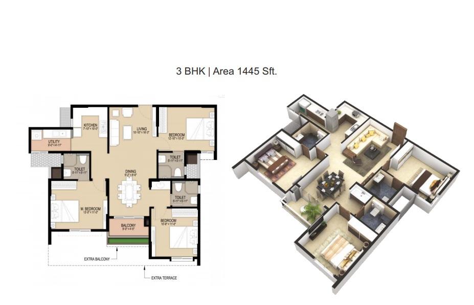 unicon north brooks 46 apartment 3bhk 1445sqft141