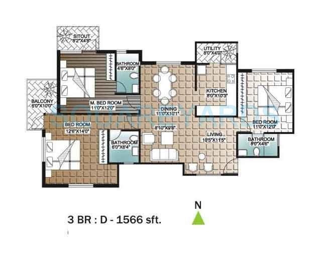 unishire indira elan apartment 3bhk 1566sqft 1
