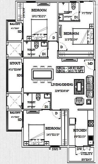unishire triumph apartment 3bhk 1613sqft 1