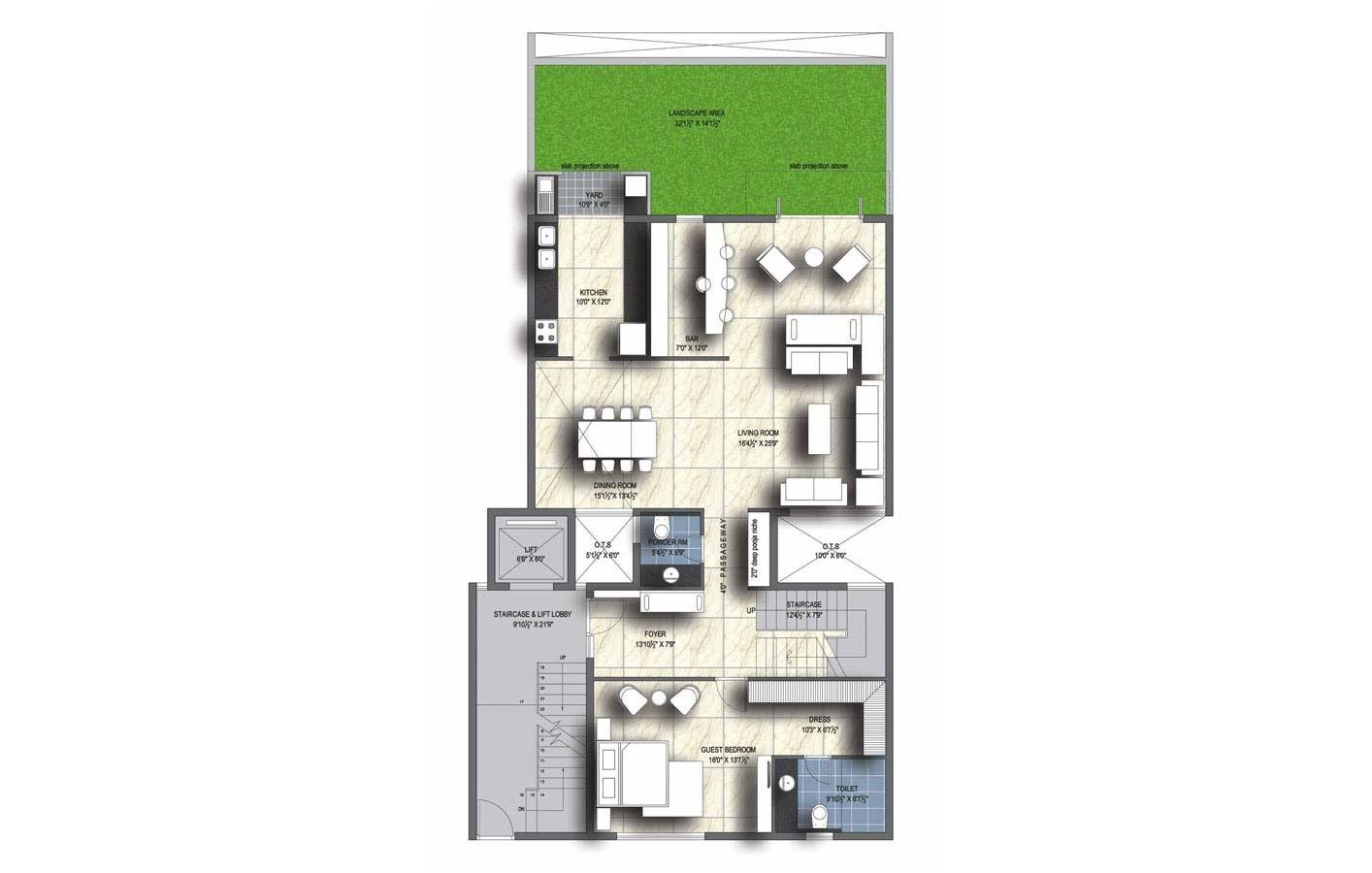 unitech uniworld resort apartment 4bhk 3597sqft41