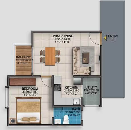 vaishnavi serene apartment 1bhk 450sqft 1