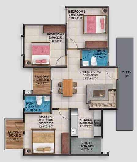 vaishnavi serene apartment 3bhk 777sqft 1