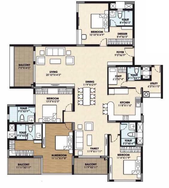 vajram esteva apartment 4bhk sq 3232sqft 1
