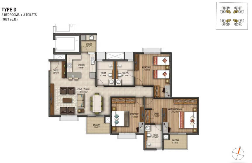 3 Bhk 1621 Sq Ft Apartment For Sale In Vaswani Brentwood At Rs 1 30 Cr Bangalore