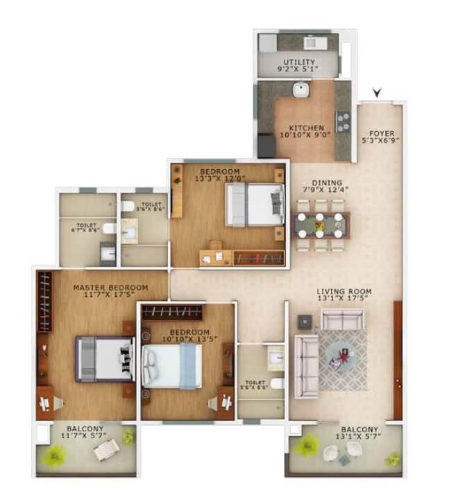 vaswani exquisite apartment 3bhk 1950sqft 1