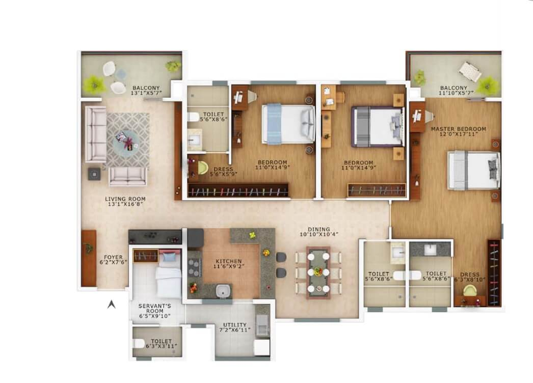 vaswani exquisite apartment 3bhk sq 2280sqft 1