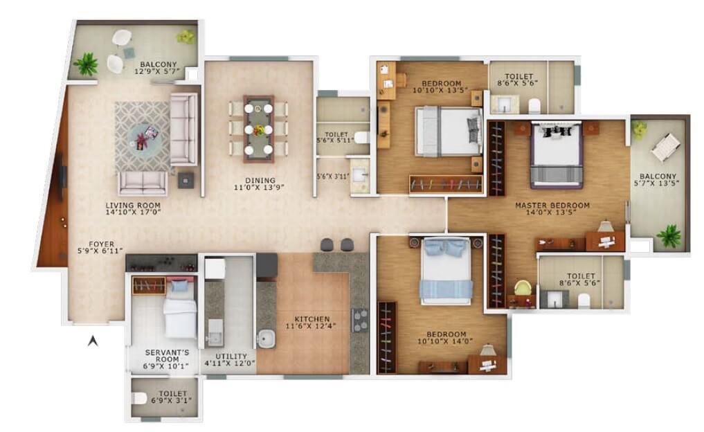 vaswani exquisite apartment 3bhk sq 2310sqft 1
