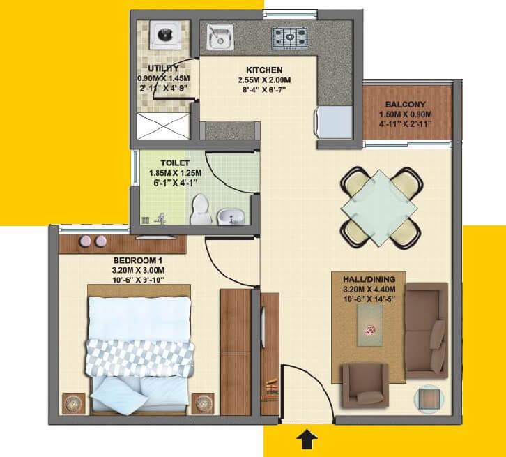 vbhc palm haven apartment 1bhk 540sqft 1