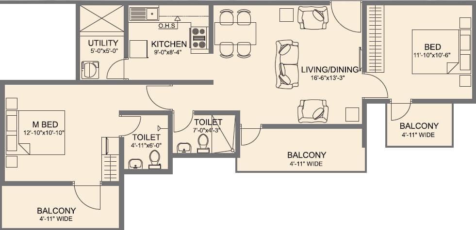 vmaks laurel apartment 2bhk 1206sqft 1