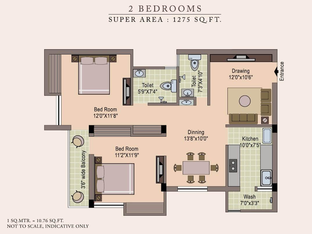 gulmohar courts apartment 2bhk 1275sqft 1