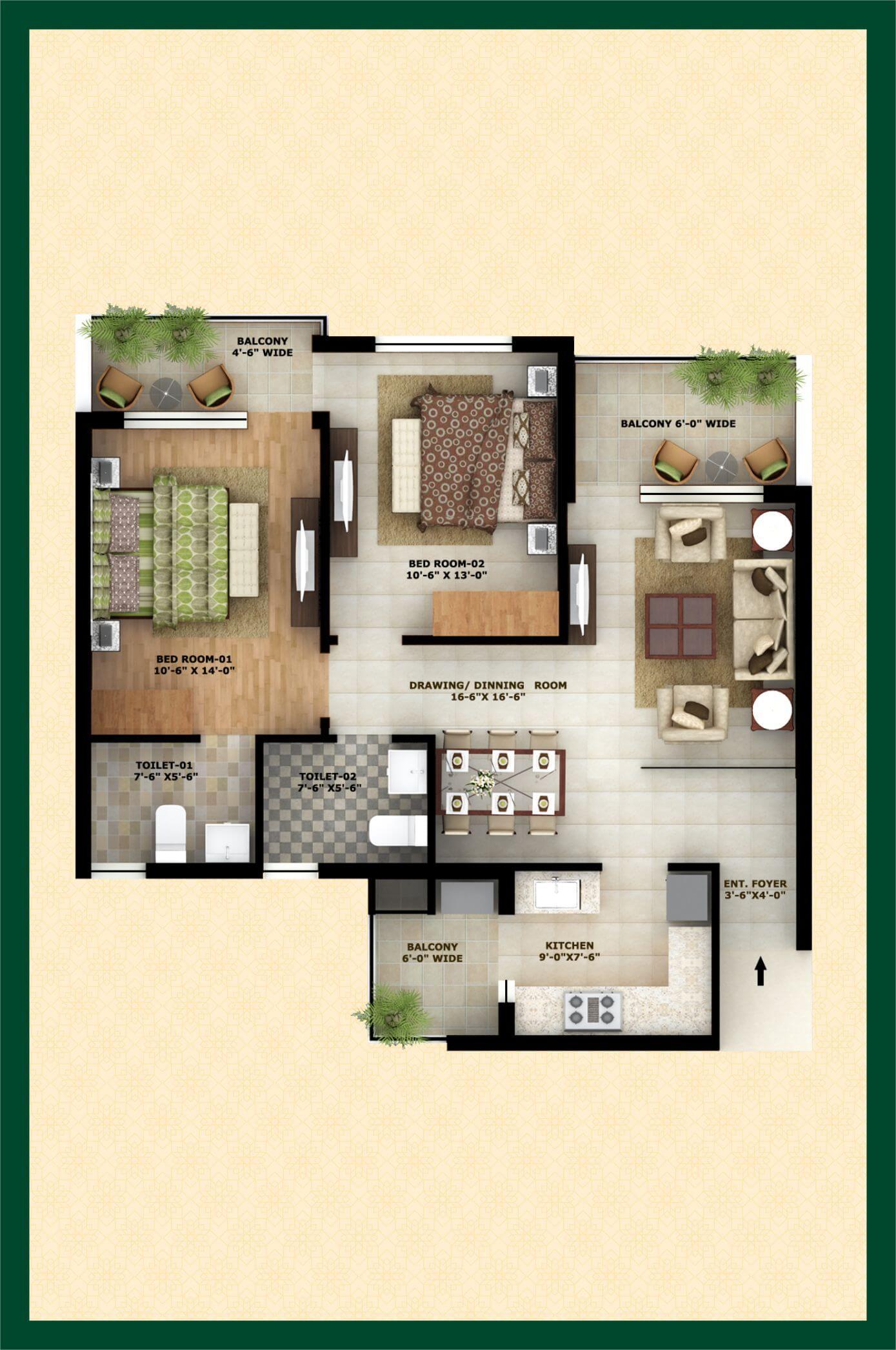 city of dreams apartment 2bhk 1308sqft 1