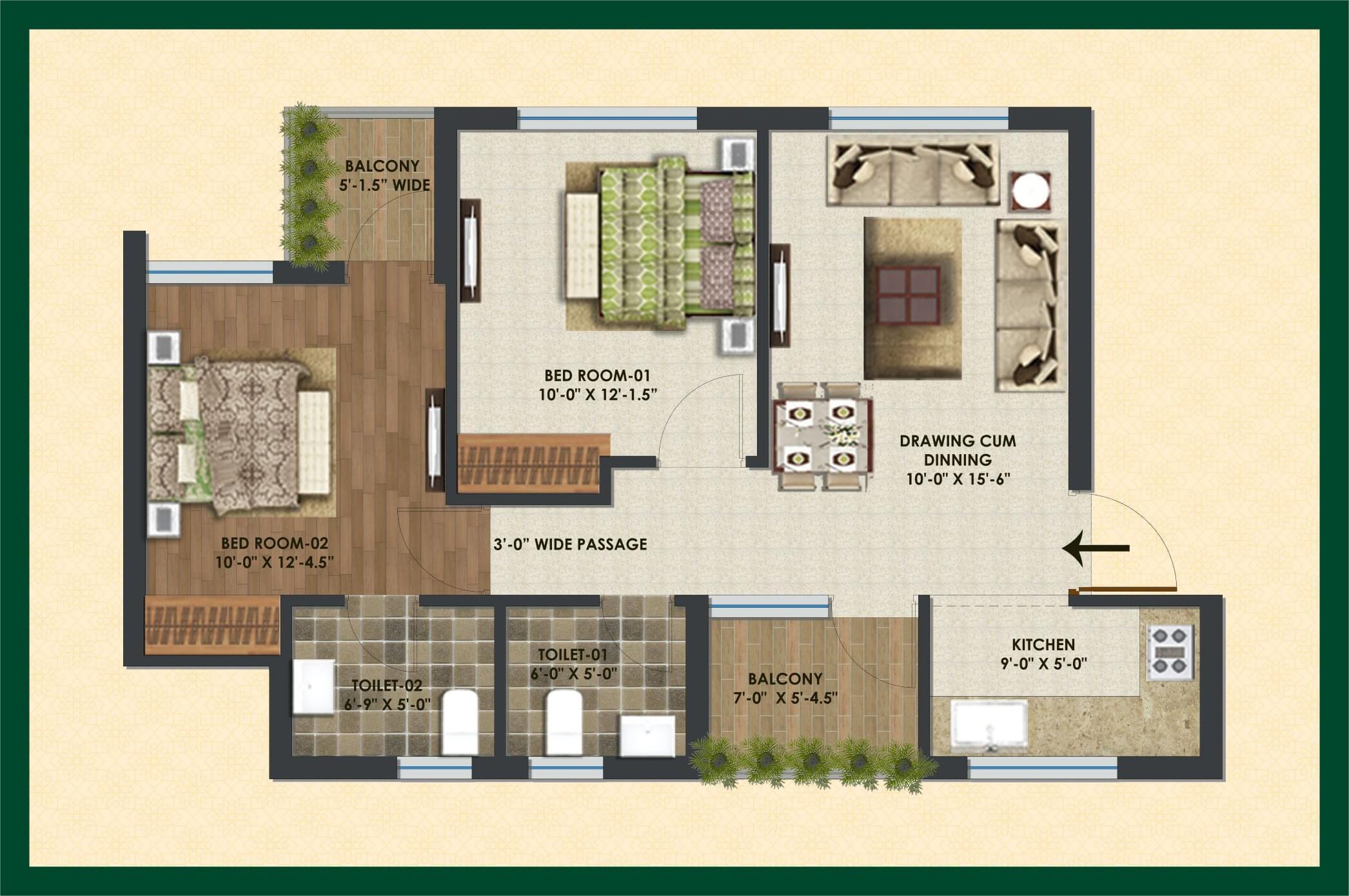 city of dreams apartment 2bhk 780sqft 1