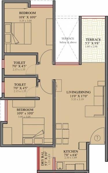 akshaya disney apartment 2bhk 994sqft 1