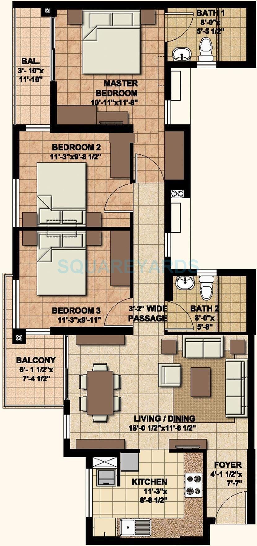 akshaya homes today apartment 3bhk 1360sqft1