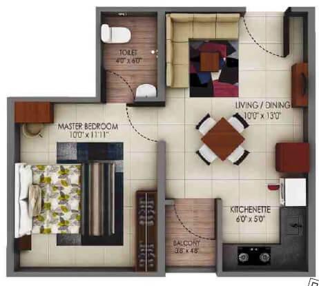 alliance urbanrise codename million carats apartment 1bhk 311sqft 1