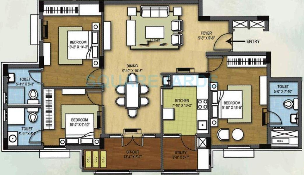 arihant housing tiara apartment 3bhk 1370sqft1