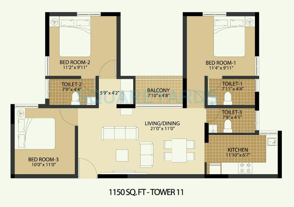 arun excello temple green apartment 3bhk 1150sqft1
