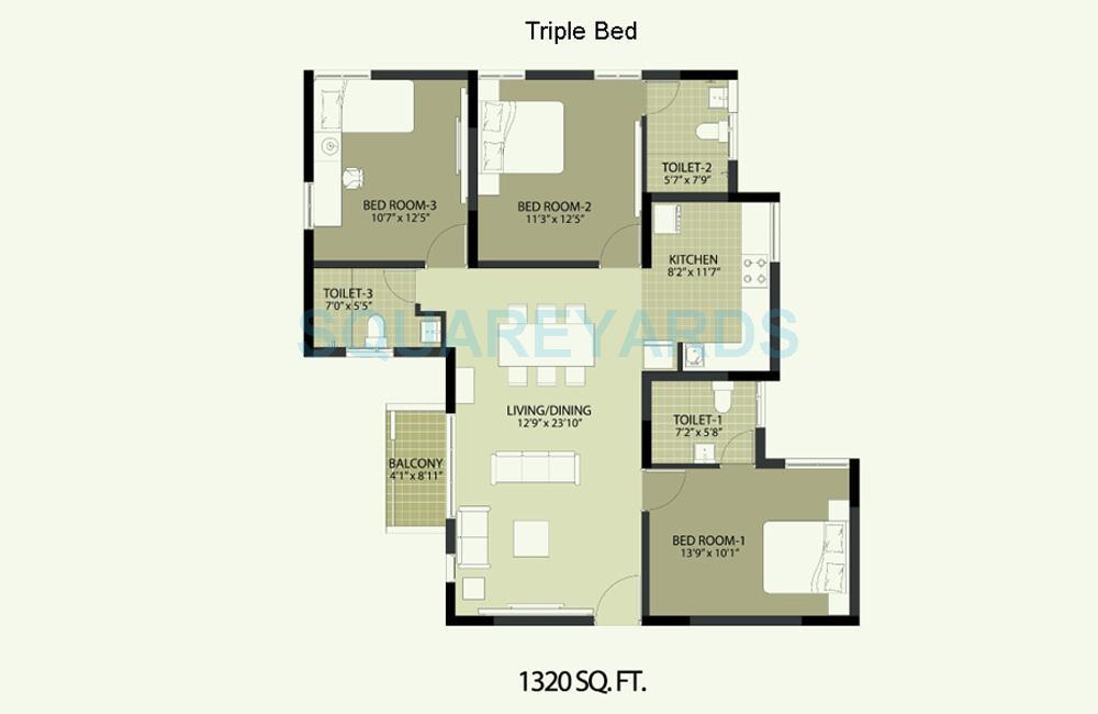 arun excello temple green apartment 3bhk 1280sqft1