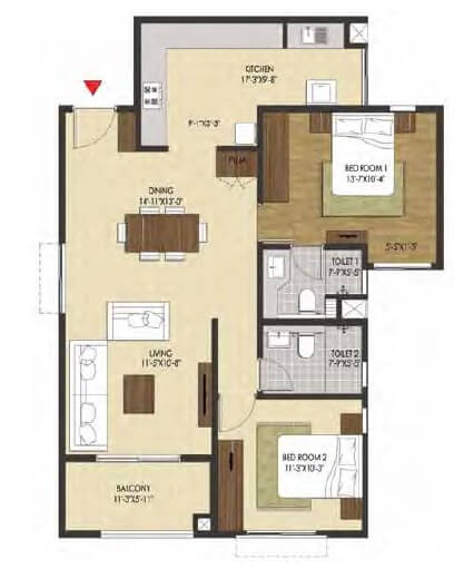 brigade xanadu apartment 2bhk 1190sqft 1