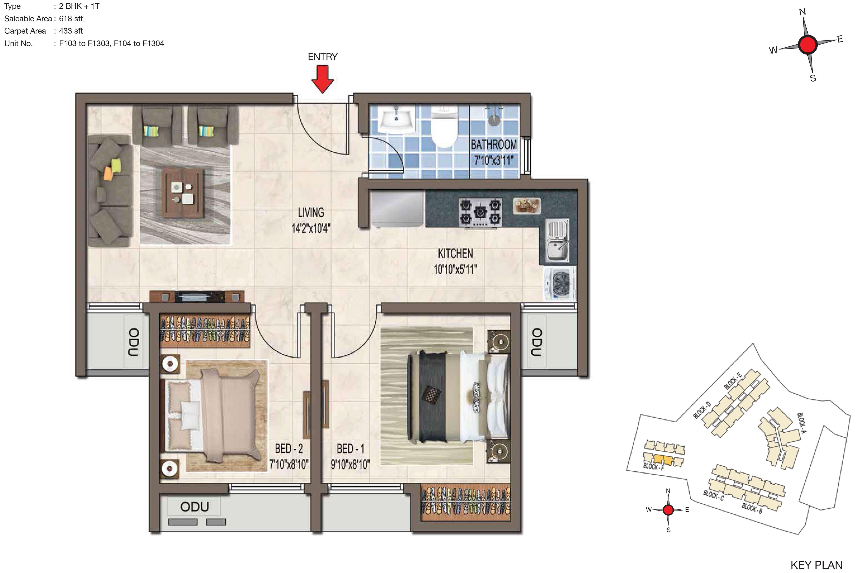 casagrand crescendo apartment 2bhk 433sqft 1