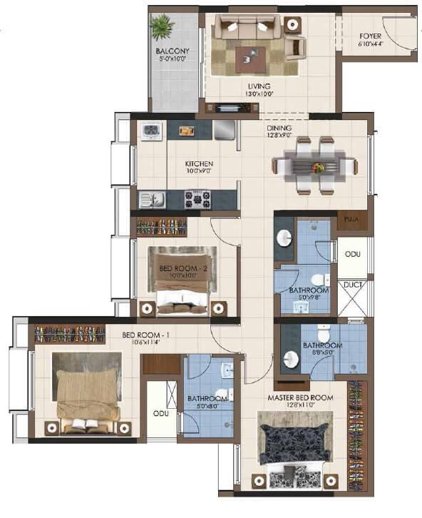 casagrand northern star apartment 3bhk 1028sqft 1