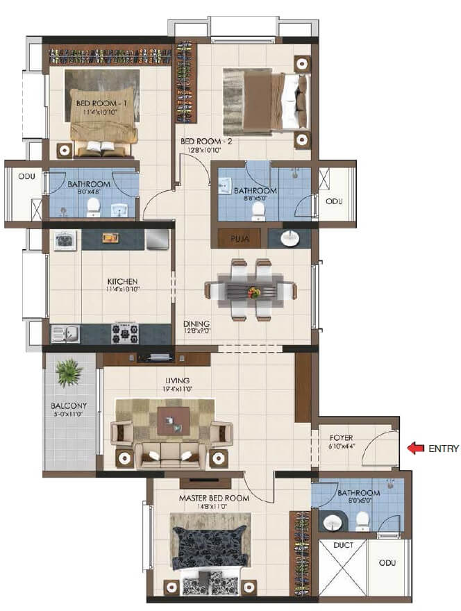 casagrand northern star apartment 3bhk 1166sqft 1