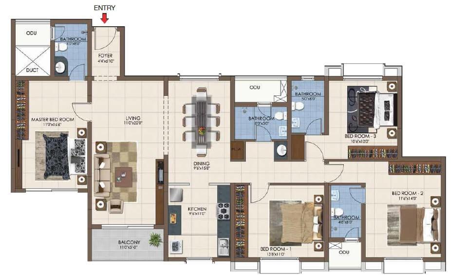 casagrand northern star apartment 4bhk 1529sqft 1
