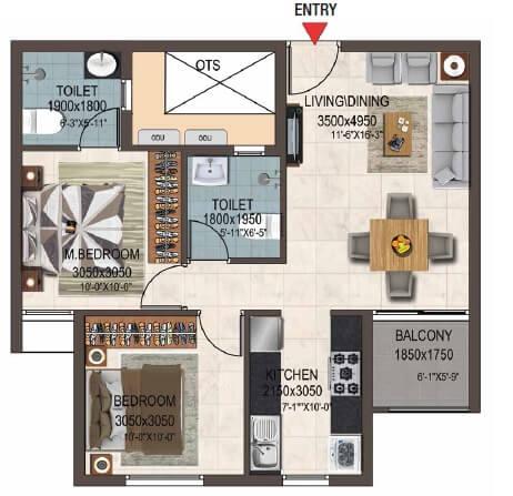 casagrand savoye apartment 2bhk 892sqft 1