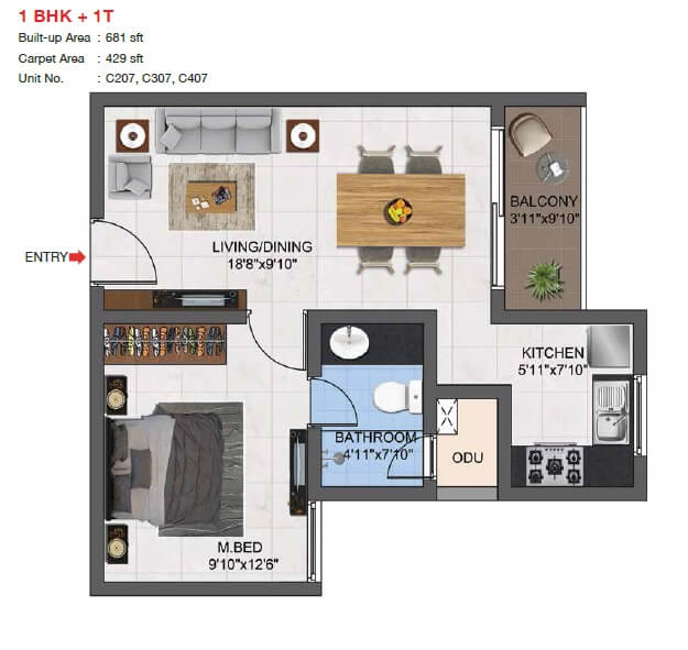 casagrand woodside apartment 1bhk 429sqft 1