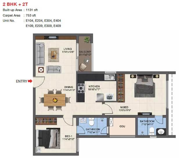 casagrand woodside apartment 2bhk 753sqft 1