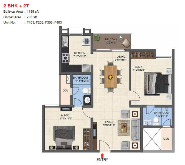 casagrand woodside apartment 2bhk 793sqft 1