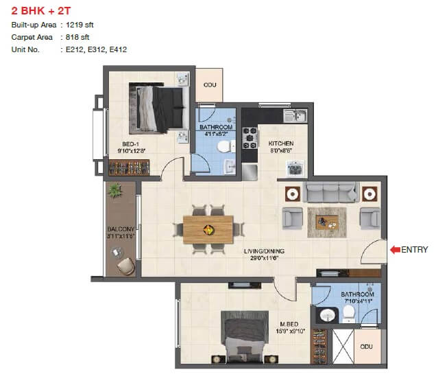 casagrand woodside apartment 2bhk 818sqft 1