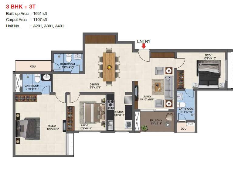 casagrand woodside apartment 3bhk 1107sqft 1