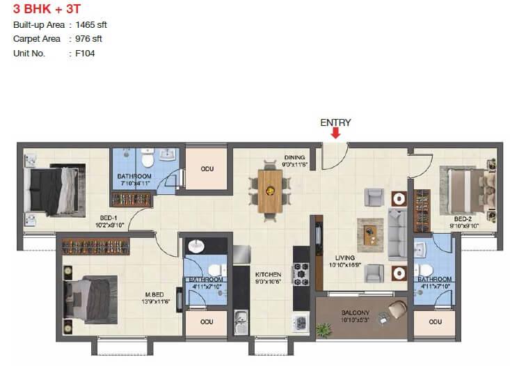 casagrand woodside apartment 3bhk 976sqft 1